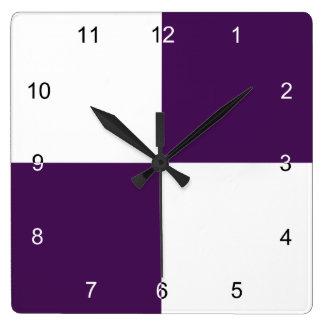 Rectángulos de la púrpura real y del blanco reloj cuadrado