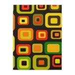 Rectángulos del amarillo, del naranja, rojos y ver impresiones en madera