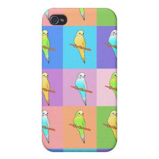 Rectángulos del arco iris del Parakeet iPhone 4 Carcasa