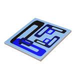Rectángulos estilizados azules/negro teja  ceramica