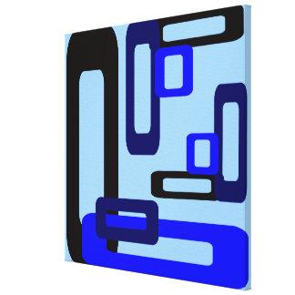 Rectángulos estilizados azules/negro impresiones en lona estiradas