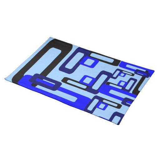 Rectángulos estilizados azules/negro mantel