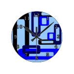 Rectángulos estilizados azules/negro reloj de pared