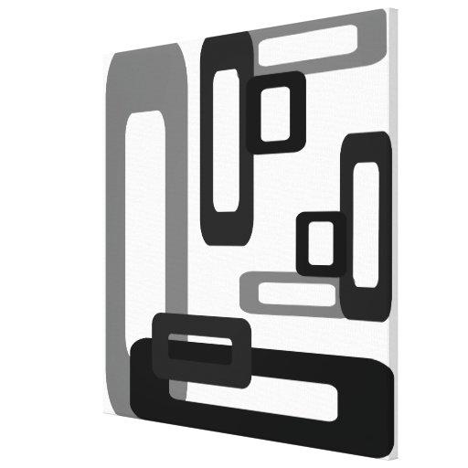 Rectángulos estilizados grises/negro impresiones en lona estiradas