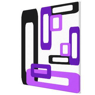 Rectángulos estilizados púrpuras/negro impresiones en lona