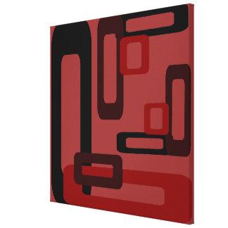Rectángulos estilizados rojos/negro impresión de lienzo
