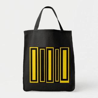 Rectángulos negros y amarillos enrrollados bolsa lienzo