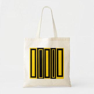 Rectángulos negros y amarillos enrrollados bolsa