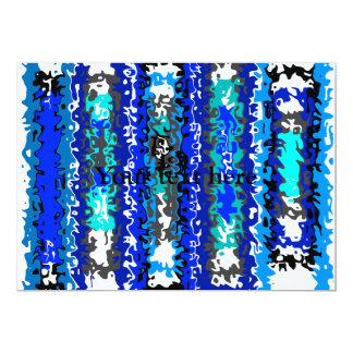 Rectángulos psicodélicos azules y blancos frescos invitaciones personales