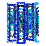 Rectángulos psicodélicos azules y blancos frescos membrete a diseño
