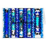 Rectángulos psicodélicos azules y blancos frescos tarjetón