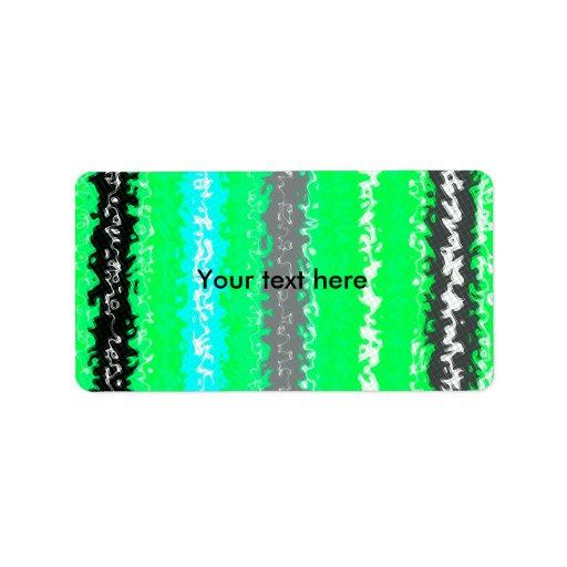 Rectángulos psicodélicos negros verdes de neón etiquetas de dirección