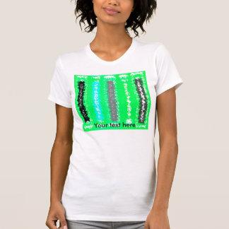 Rectángulos psicodélicos negros verdes de neón camiseta