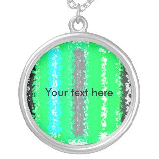 Rectángulos psicodélicos negros verdes de neón ret collares