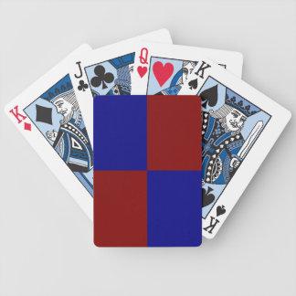 Rectángulos rojo oscuro y azules barajas de cartas