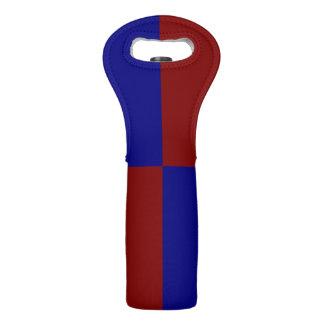 Rectángulos rojo oscuro y azules bolsas para botella de vino