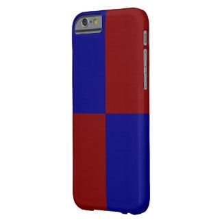 Rectángulos rojo oscuro y azules funda de iPhone 6 barely there