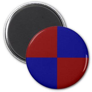 Rectángulos rojo oscuro y azules imán redondo 5 cm