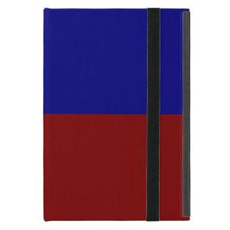 Rectángulos rojo oscuro y azules iPad mini funda