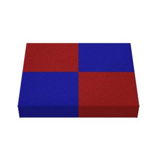 Rectángulos rojo oscuro y azules impresiones en lienzo estiradas