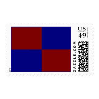 Rectángulos rojo oscuro y azules - medio estampillas