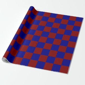 Rectángulos rojo oscuro y azules papel de regalo