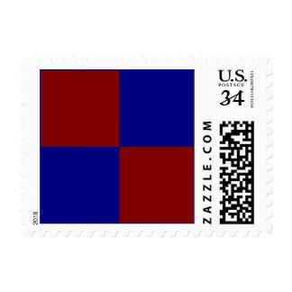 Rectángulos rojo oscuro y azules - pequeños estampillas