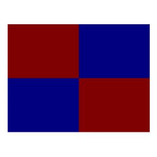 Rectángulos rojo oscuro y azules postales