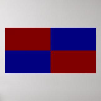 Rectángulos rojo oscuro y azules póster