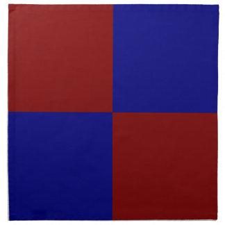 Rectángulos rojo oscuro y azules servilletas de papel