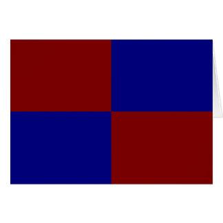 Rectángulos rojo oscuro y azules tarjeta de felicitación