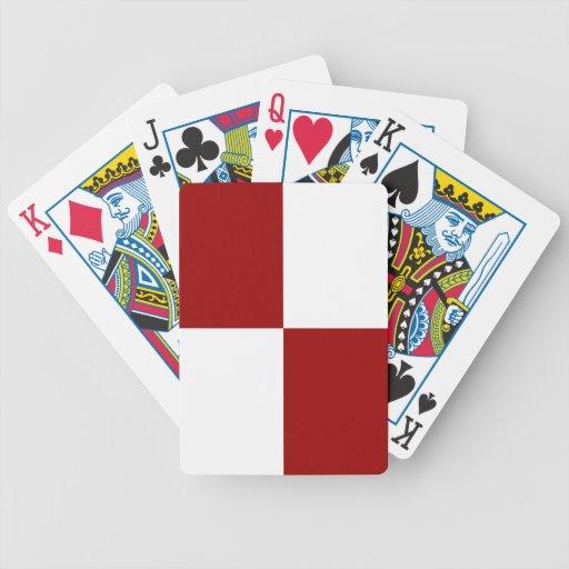Rectángulos rojos y blancos baraja cartas de poker