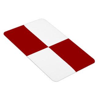 Rectángulos rojos y blancos imanes de vinilo