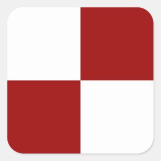 Rectángulos rojos y blancos pegatina cuadrada
