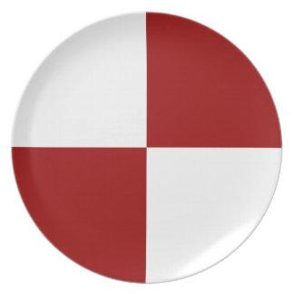 Rectángulos rojos y blancos platos