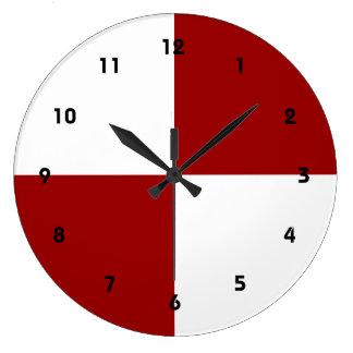Rectángulos rojos y blancos reloj redondo grande
