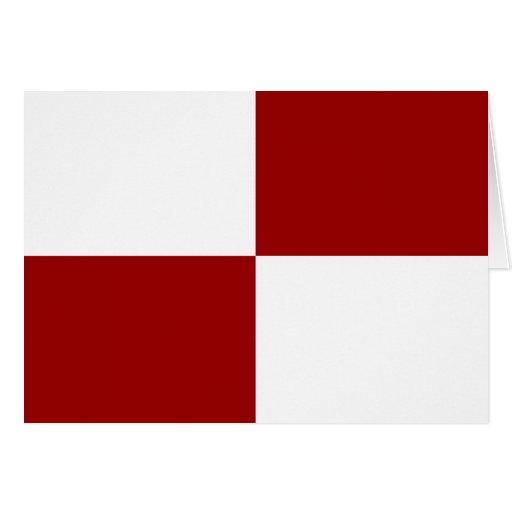 Rectángulos rojos y blancos tarjeta de felicitación