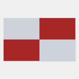 Rectángulos rojos y grises pegatina rectangular