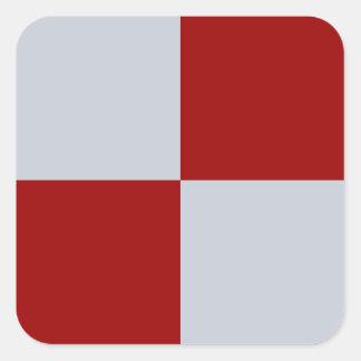 Rectángulos rojos y grises pegatina cuadrada