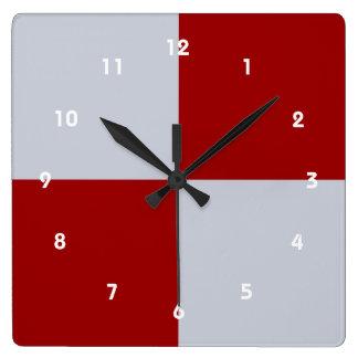 Rectángulos rojos y grises reloj cuadrado