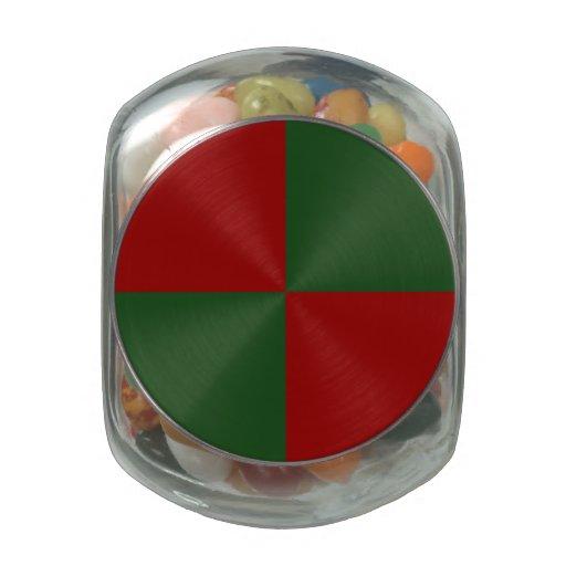 Rectángulos rojos y verdes frascos cristal