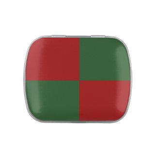 Rectángulos rojos y verdes frascos de caramelos