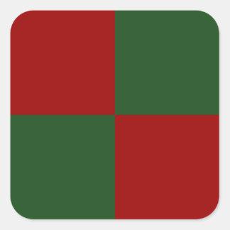 Rectángulos rojos y verdes pegatina cuadrada