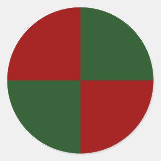 Rectángulos rojos y verdes pegatina redonda