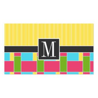 Rectángulos rosados, azules, verdes, y amarillos r plantillas de tarjetas de visita