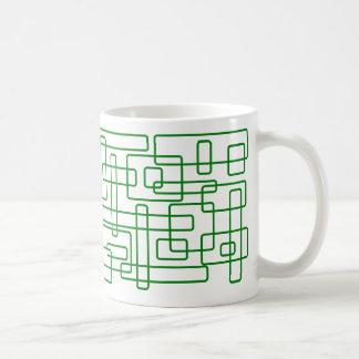 Rectángulos verdes, redondeados - 11 onzas. ¡Taza! Taza Clásica