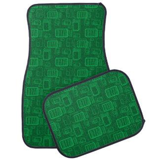 Rectángulos verdes retros en fondo verde alfombrilla de auto