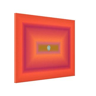 Rectángulos y círculo anaranjados abstractos lienzo envuelto para galerías
