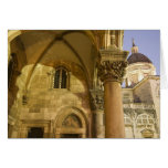 Rector's Palace Arches with Dubrovnik Cathedral Greeting Card