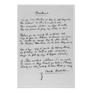 Recueillement', signed sonnet, 1861 poster